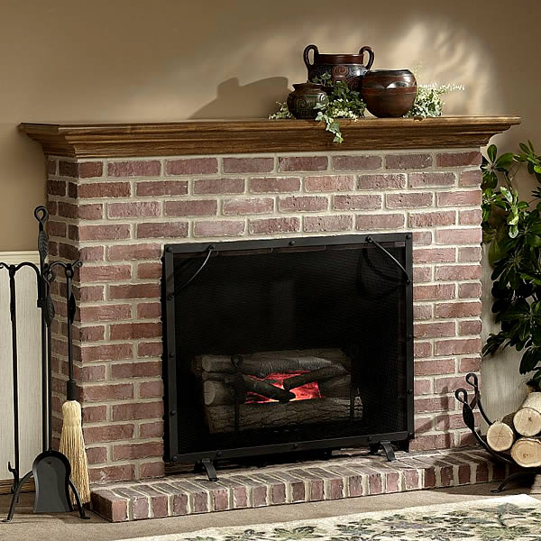Electric stone brick fireplace